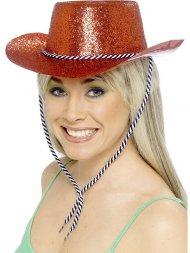 Chapeau Western Rouge Glitter