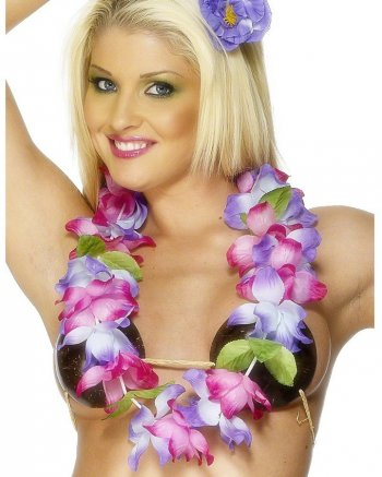 Collier Hawaïen Fleurs Rose et violet