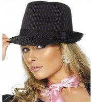 Chapeau de Gangster Rayé Noir et Rose