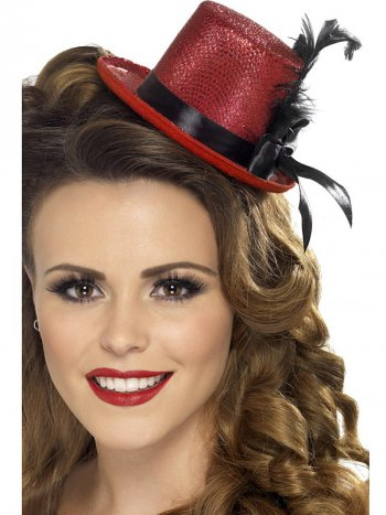 Mini Chapeau Costume Burlesque Rouge