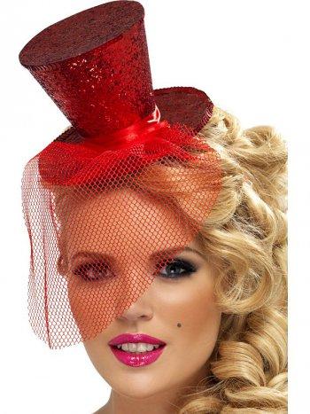 Mini chapeau Burlesque Rouge à Voilette