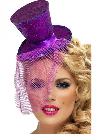 Mini Chapeau Burlesque Violet à Voilette