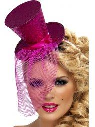Mini Chapeau Burlesque Rose fuchsia à Voilette