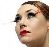 Faux Cils noirs avec plumes rouges