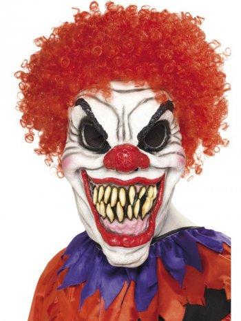 Masque Intégral Clown Dément avec Cheveux