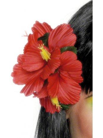 Barrette Hawaïenne fleur rouge