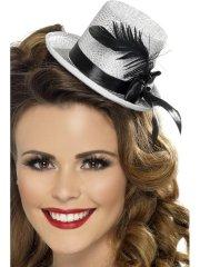 Mini Chapeau Burlesque Argent Plumes Noires