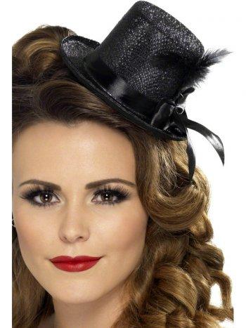 Mini Chapeau Burlesque Noir à Plumes