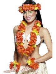 Set Hawaïenne à fleurs jaunes et rouges