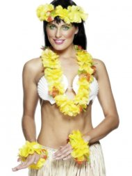 Set Hawaïenne à fleurs jaunes