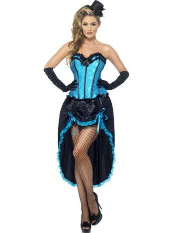 Déguisement de Danseuse Burlesque Bleu/Noir