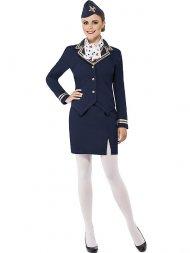 Déguisement d'Hôtesse de l'Air Bleu Marine