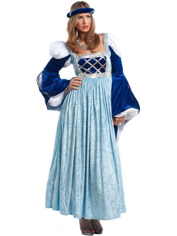 Déguisement Dame Médiévale Bleu Luxe
