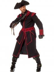 Déguisement Manteau Pirate Noir et Rouge