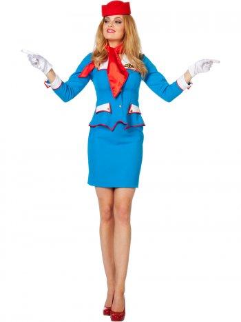 Déguisement Hôtesse de l Air Bleu Royal
