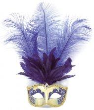 Masque Carnaval Venise Plume Bleue