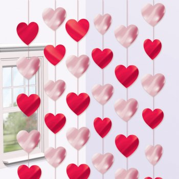 6 guirlandes verticales coeurs rouges et roses