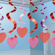 15 guirlandes verticales coeurs rouges et roses