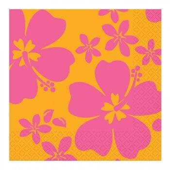 16 serviettes Hibiscus rose
