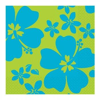 16 serviettes Hibiscus bleu