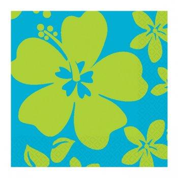 16 serviettes cocktail Hibiscus bleu