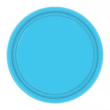8 assiettes à dessert bleu caraîbe