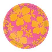 8 assiettes Hibiscus rose Maxi