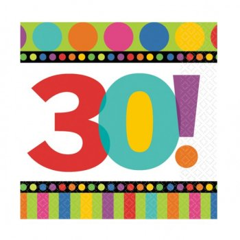 """Serviettes Rayures et Pois """"30 ans!"""""""
