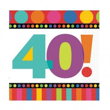 """Serviettes Rayures et Pois """"40 ans!"""""""