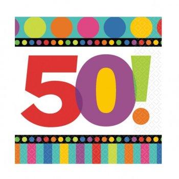 """Serviettes Rayures et Pois """"50 ans!"""""""
