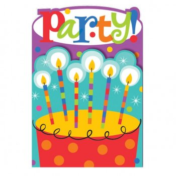 "8 Invitations Rayures et Pois ""Party!"""