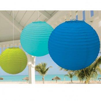 Lanternes Boules japonaises Bleu/Turquoise/Anis