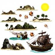 Set de 14 décors île aux pirates