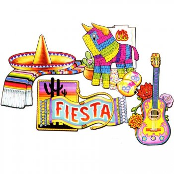 Lot de 4 décors Fiesta Mexicaine