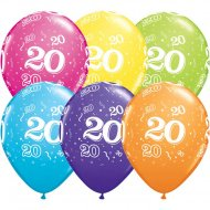 6 Ballons Multicolores 20 ans