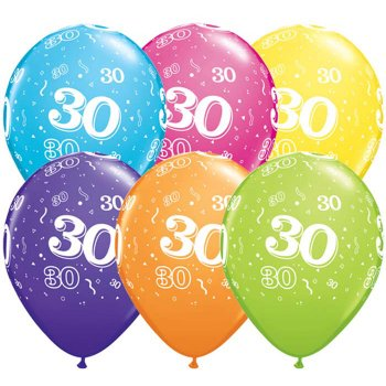 6 Ballons Multicolores 30 ans