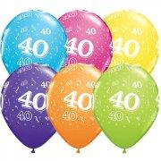 6 Ballons Multicolores 40 ans