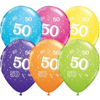 6 Ballons Multicolores 50 ans