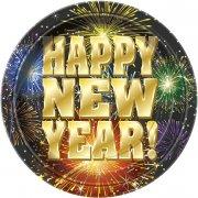 8 Assiettes Happy New Year Feu d'Artifice