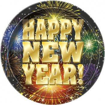 8 Assiettes Happy New Year Feu d Artifice